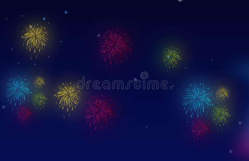 Fireworks night vector illustration