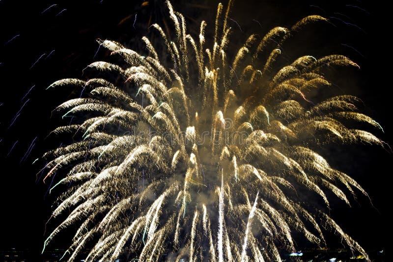 Fireworks. Night in Bangkok Thailand royalty free stock photo
