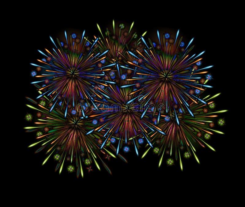 Fireworks night color. Template dark carnival show stock illustration