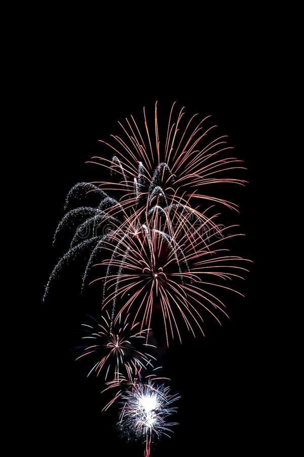 Fireworks at night. Color, city, red, white, galaxy, nature, sky stock image