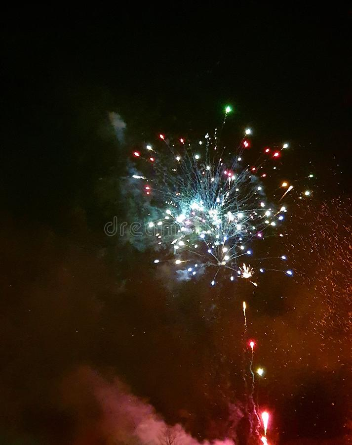 Fireworks night, explosion of colour. Bang royalty free stock photos