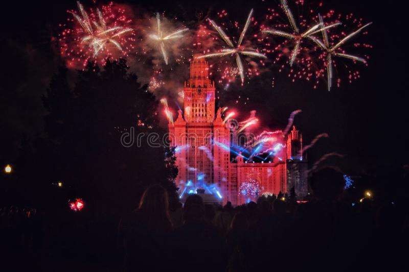 Fireworks at night in Moscow. Light, show, festival stock photos