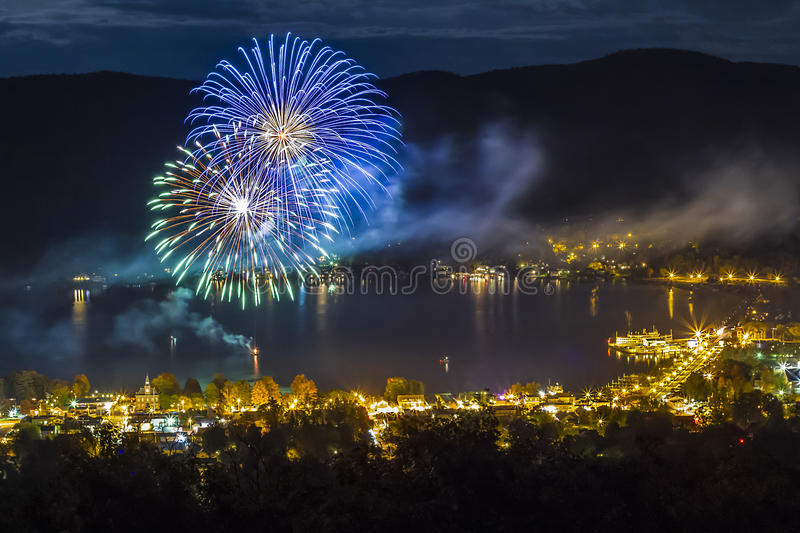 Fireworks at night over Lake George NY during Octoberfest royalty free stock images