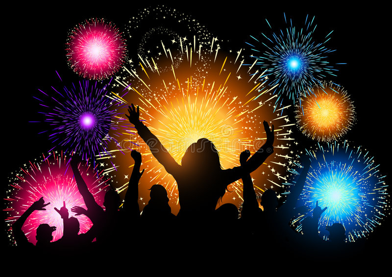 Fireworks Night Party. A crowd of people cheering at a fireworks display vector illustration