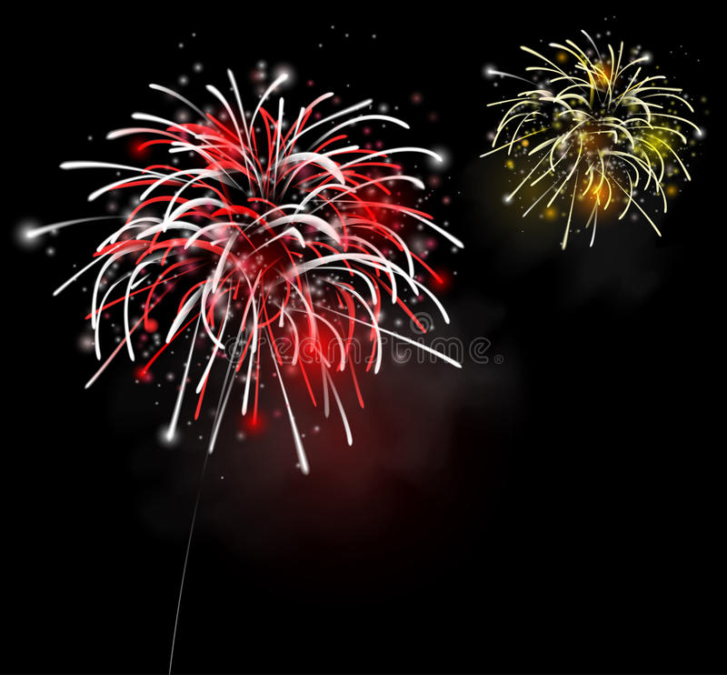 Fireworks in the night sky. Colorful fireworks in the night sky. Eps 10 vector illustration