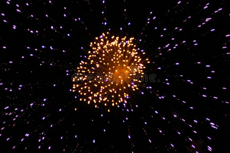 Fireworks in the night sky. At Christmas stock photos
