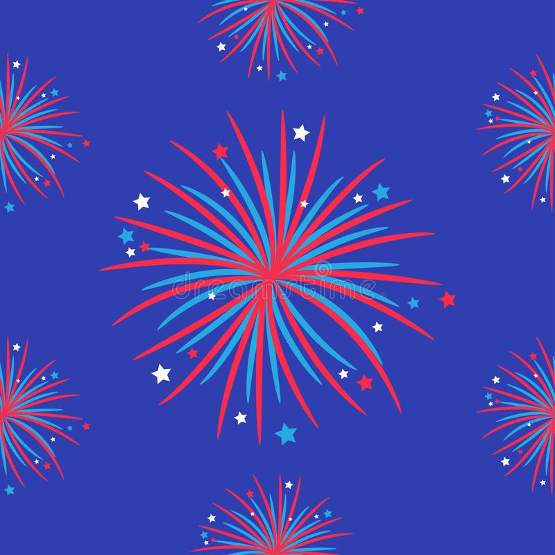 Fireworks night sky Seamless pattern. Happy independence day United states of America. 4th of July. Star and strip Flat design. Bl stock illustration