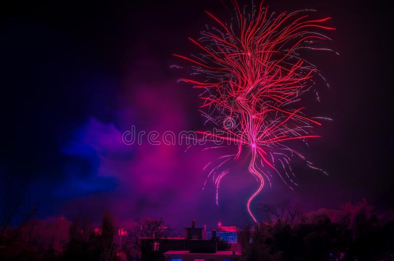 Fireworks at night of town stock images