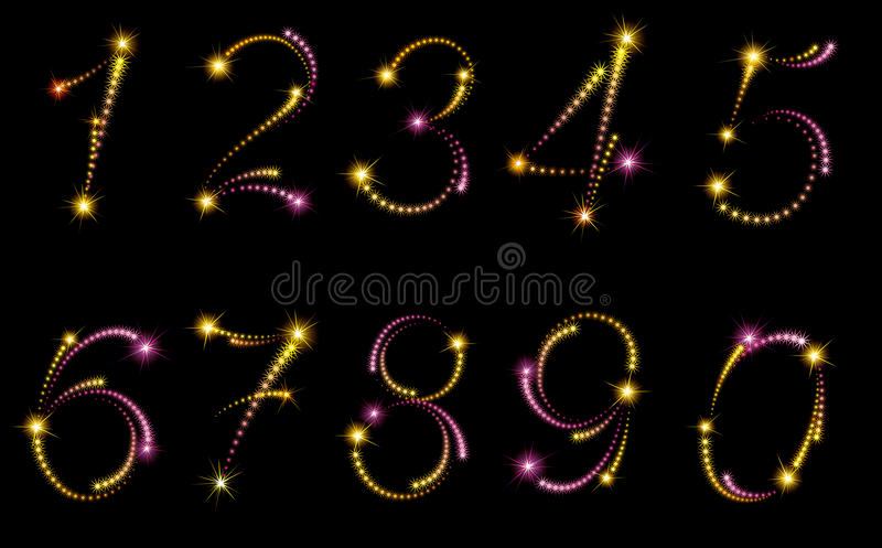 Fireworks numbers vector illustration