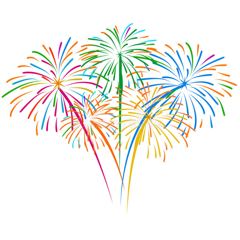 Free Fireworks On White Background Vector Illustration Royalty Free Stock Images - 52135259