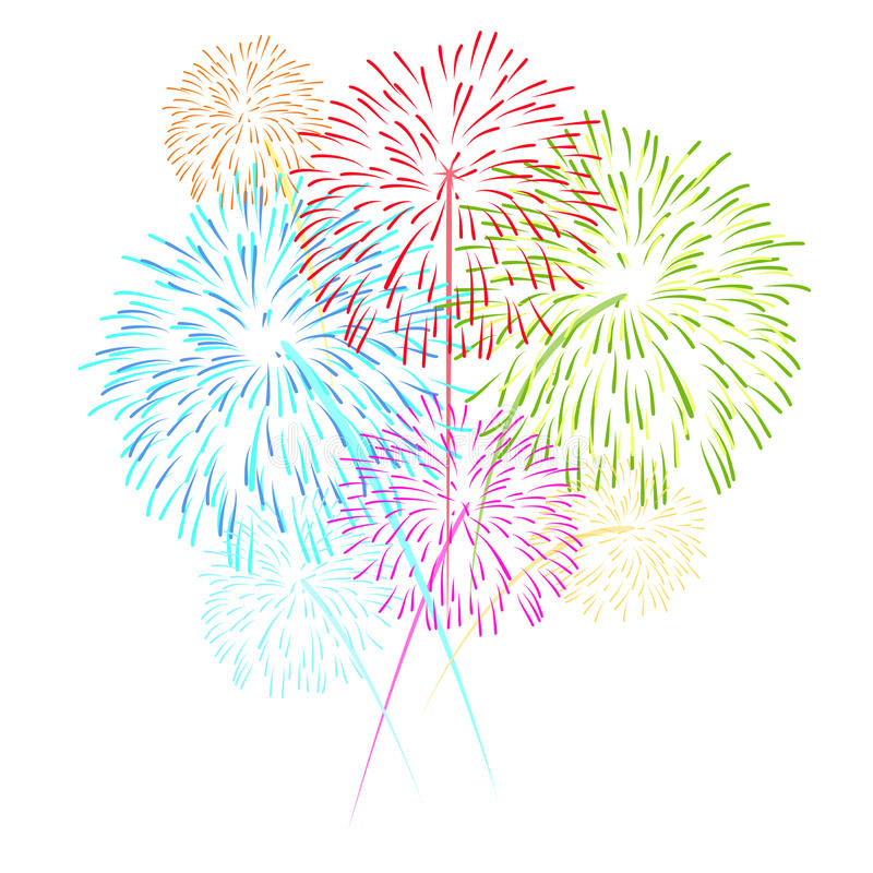 Free Fireworks On White Background Vector Illustration Royalty Free Stock Image - 52137366