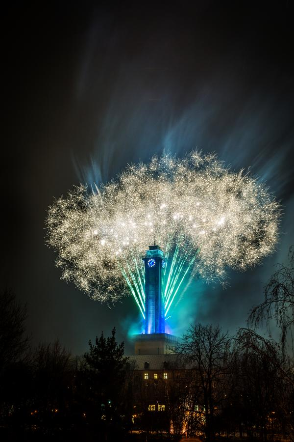 Fireworks in Ostrava. Night fireworks in czech city Ostrava near town hall stock photography