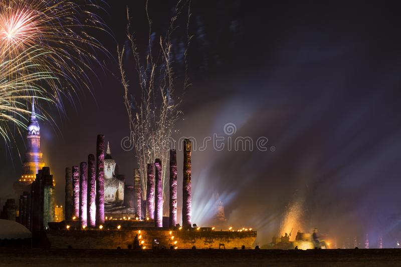 Fireworks over ancient temple with Loy Krathong festival in Sukhothai Historical Park that UNESCO , Thailand. royalty free stock photography