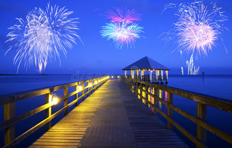 Fireworks over Apalachicola, Florida stock photo