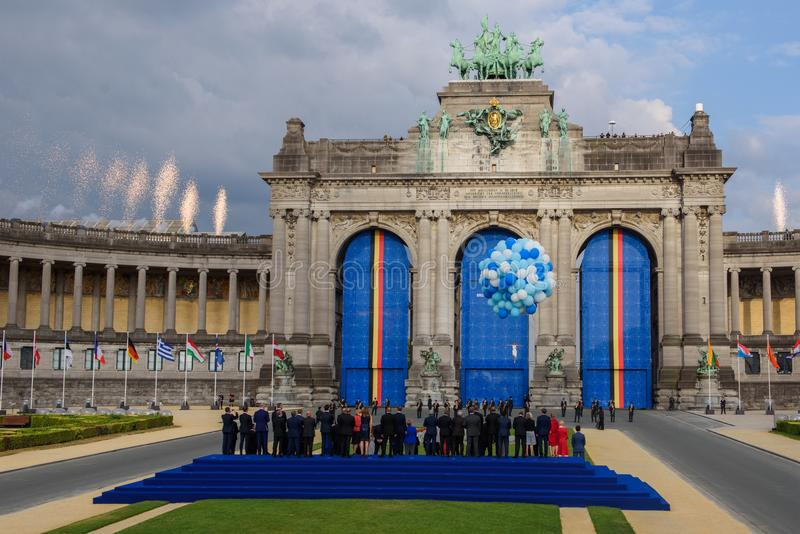 Fireworks over area, during Family photo of World leaders , during Working dinner at NATO SUMMIT 2018 stock image
