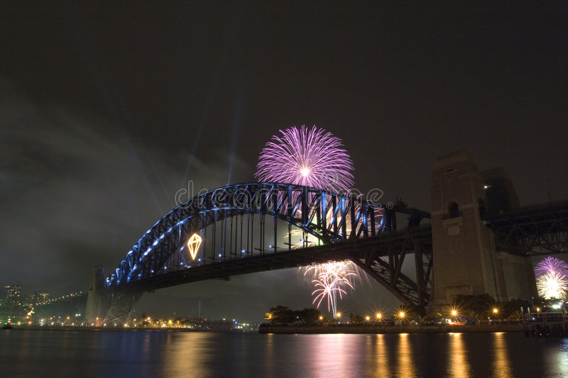 Download Fireworks over the Bridge stock photo. Image of night - 4825474
