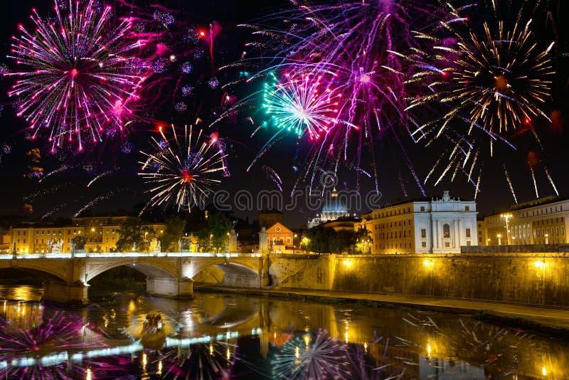 Fireworks over bridge Vittorio Emmanuel.Italy.Rome. Celebratory fireworks over bridge Vittorio Emmanuel through Tiber. Italy. Rome stock photos