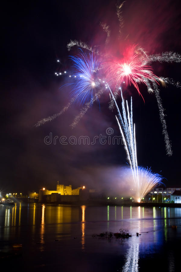 Download Fireworks over the castle stock photo. Image of boat - 16745086