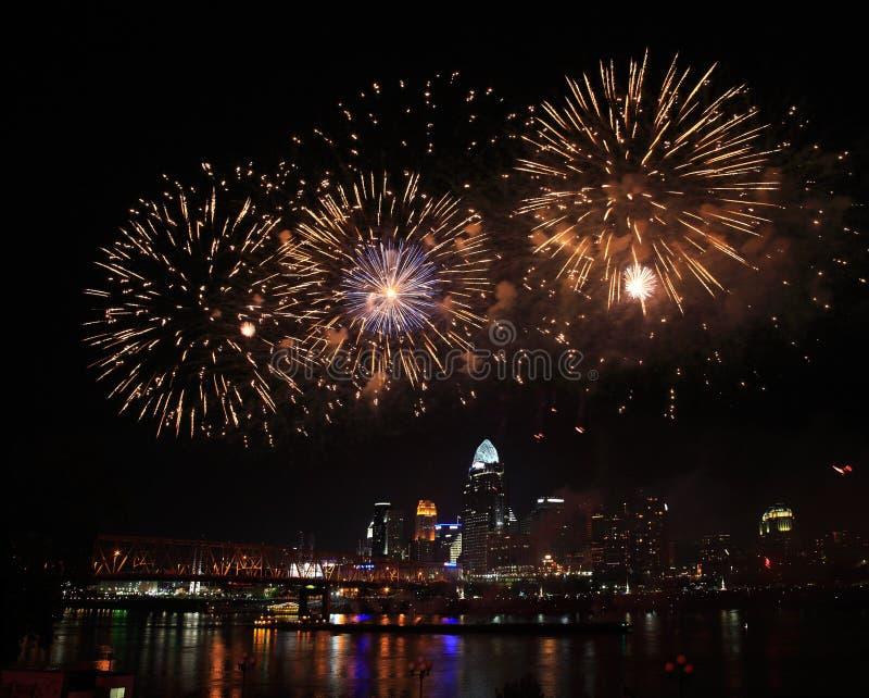 Fireworks Over Cincinnati royalty free stock images