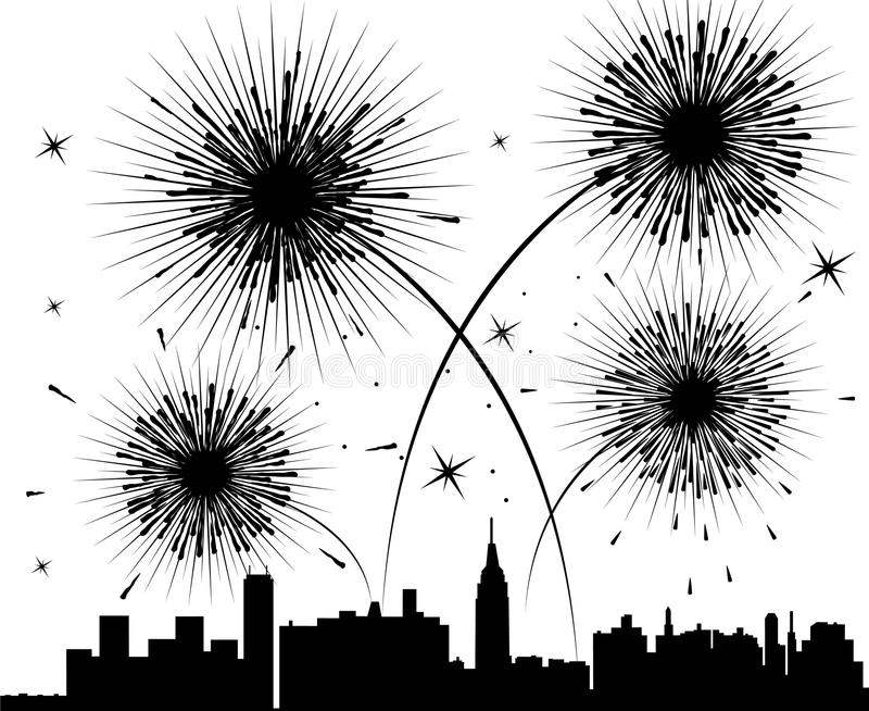 Fireworks over a city royalty free illustration