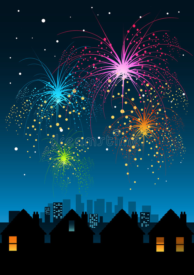 Fireworks over the City stock illustration