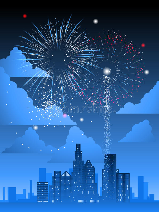 Download Fireworks over city stock vector. Image of festival, evening - 18997924