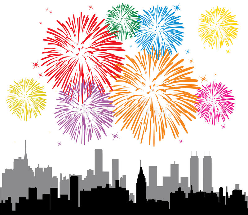 Fireworks over a city. Vector illustration of fireworks over a city stock illustration