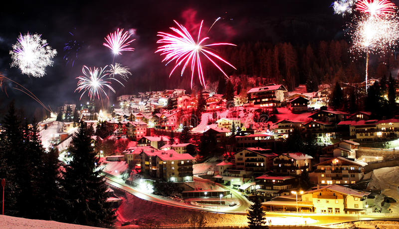 Fireworks over city. Fireworks over the St Anton ski resort in Austria, Europe vector illustration