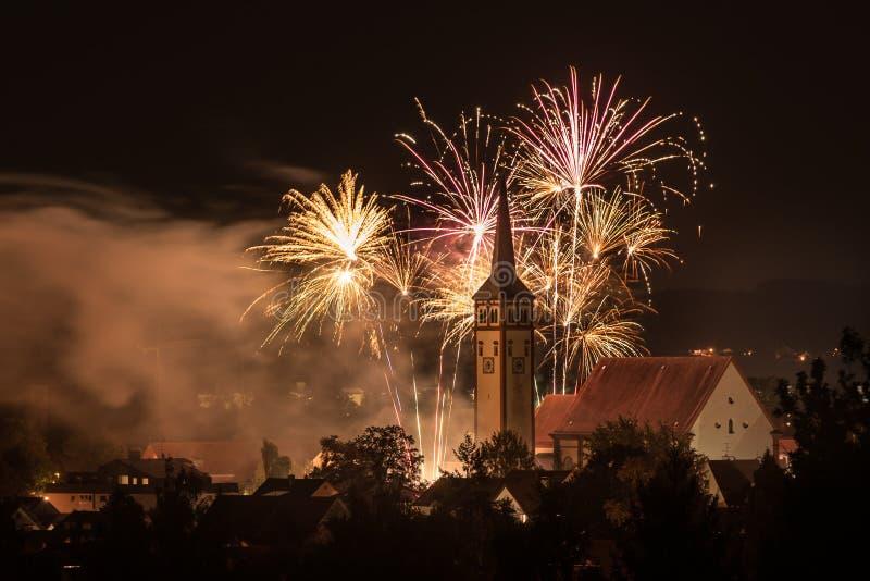 Beautiful colored Fireworks over Mindelheim royalty free stock photo