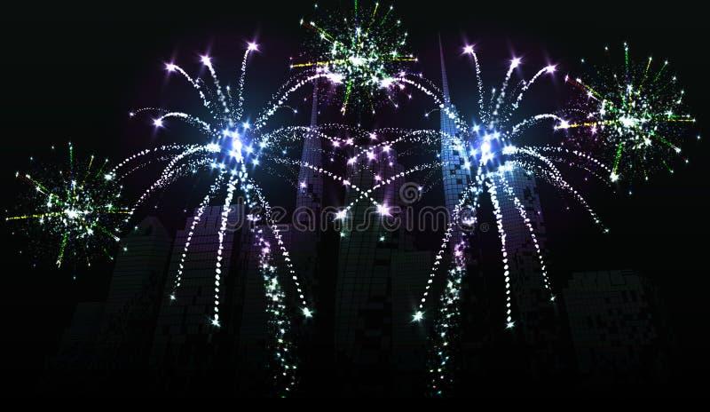 Fireworks over the city. Celebrating holidays. Light effects vector illustration