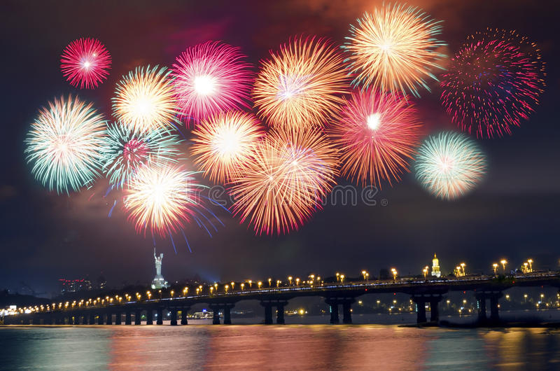Fireworks over the city royalty free stock images