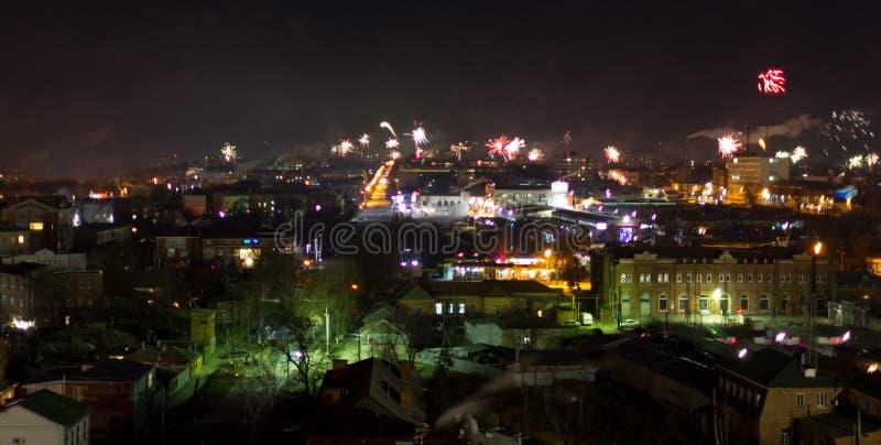 Fireworks over a city stock photos