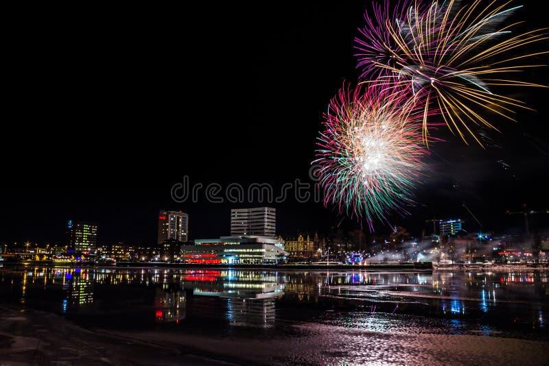 Fireworks over City Skyline of Umeå, Sweden. Fireworks over City Skyline (Umeå, Sweden royalty free stock photo