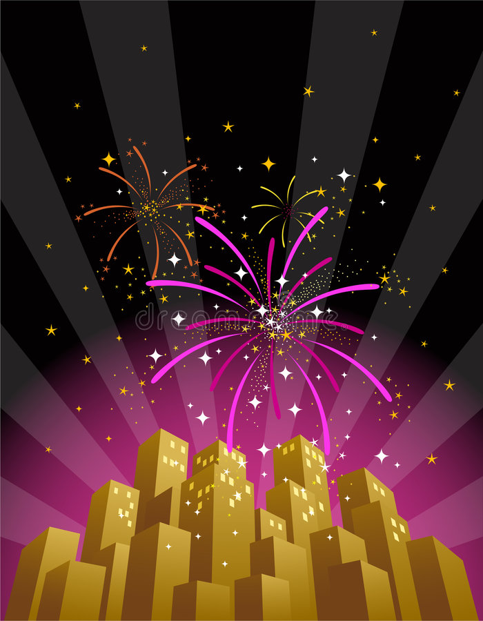 Fireworks over a city skyline in vertical format royalty free illustration