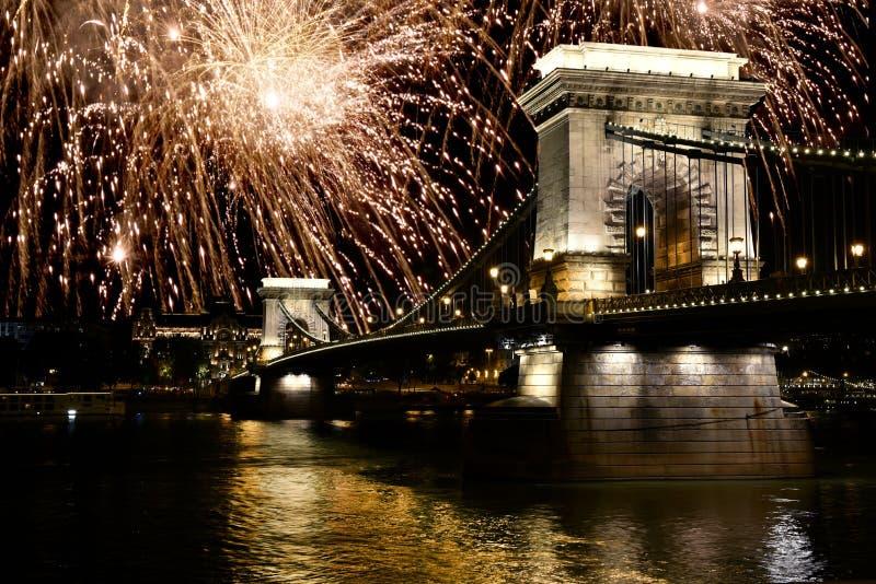 Fireworks over Danube river, Budapest, Hungary. Fireworks over Danube river and bridge, Budapest, Hungary stock images