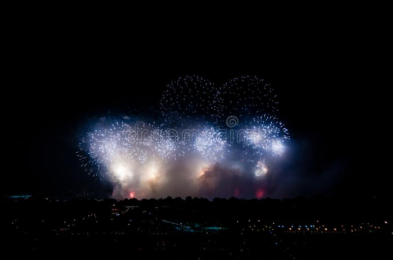 Fireworks over DC. Fireworks on the National Mall in Washington, D.C. on July 4, 2019 royalty free stock images