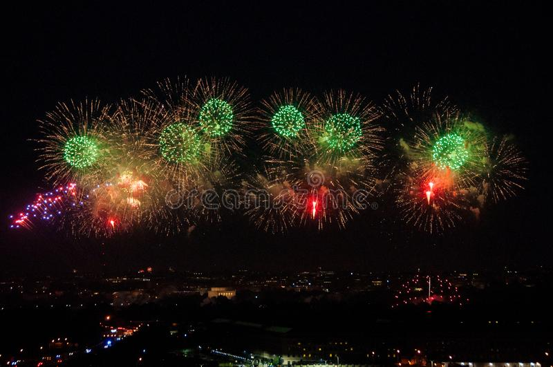 Fireworks over DC. Fireworks on the National Mall in Washington, D.C. on July 4, 2019 royalty free stock photo
