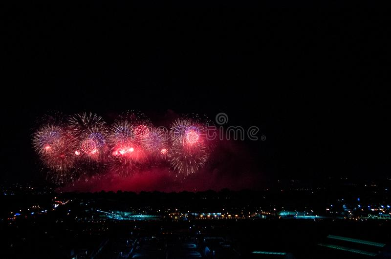Fireworks over DC. Fireworks on the National Mall in Washington, D.C. on July 4, 2019 stock photography