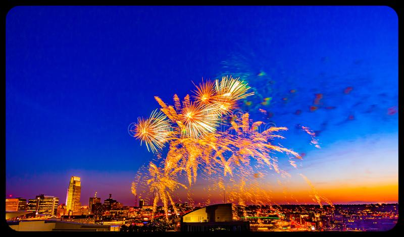 Fireworks over downtown Omaha Nebraska at night stock photography