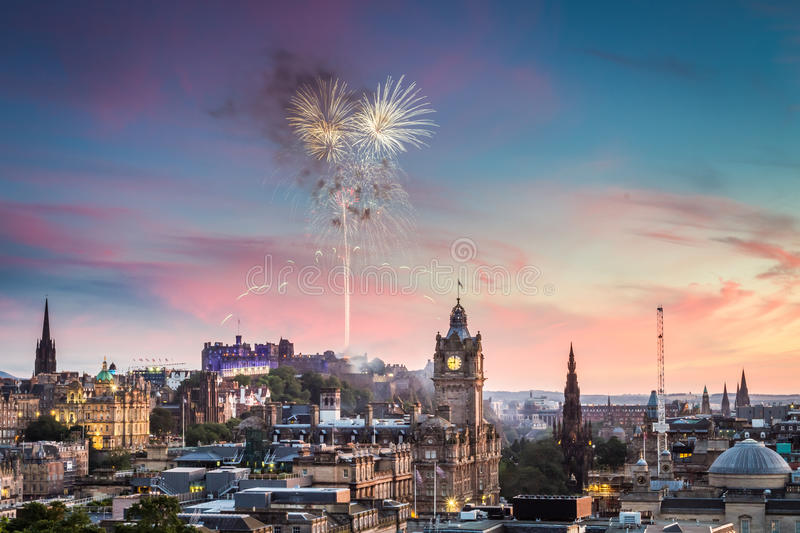 Fireworks over Edinburgh Castle stock photos