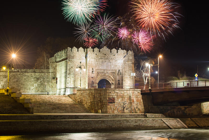 Fireworks over Fortress of Nis in Serbia stock image