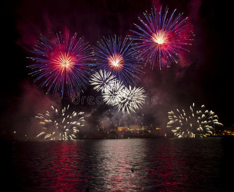 Fireworks over the Grand Harbour - Malta royalty free stock photos