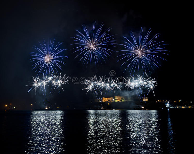 Fireworks over the Grand Harbour - Malta royalty free stock images