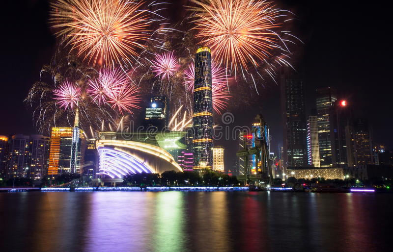 Fireworks over Guangzhou city modern buildings China stock image