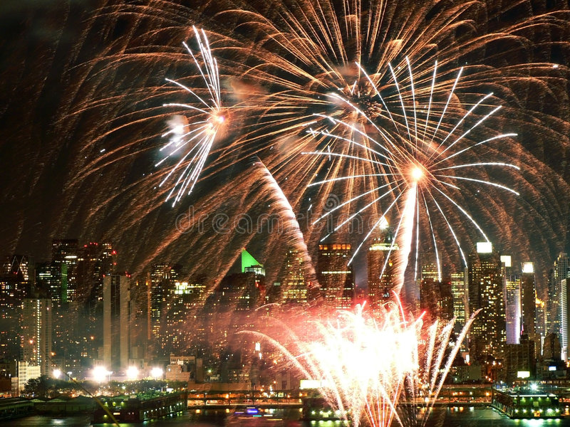 Fireworks over the Hudson stock photos