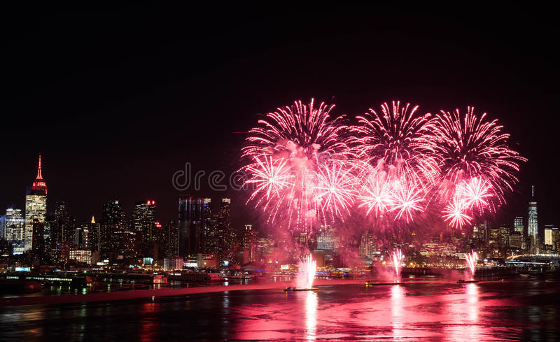 Fireworks over Hudson River royalty free stock photography
