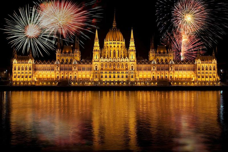 Fireworks over Hungarian Parliament