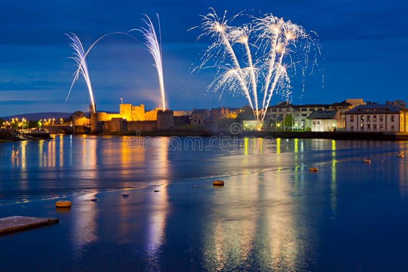 Fireworks over King John Castle in Limerick. Ireland stock images