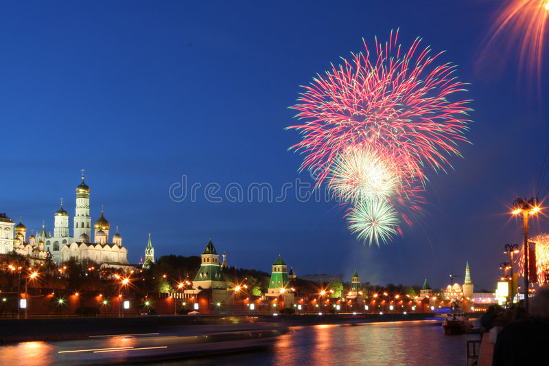 Fireworks over Kremlin royalty free stock images