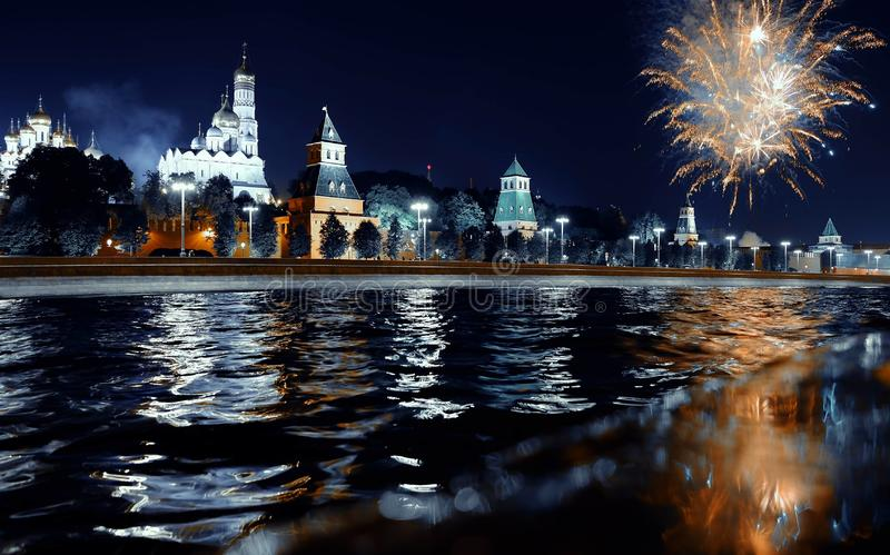 Fireworks over the Kremlin, Moscow, Russia. summer stock image